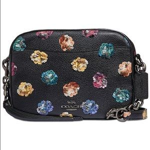 Coach Rainbow Rose Camera Bag pebble leather